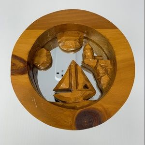 Carved Wood Wall Mirror Sailboat Vintage Nautical